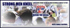 strong men kneel